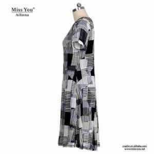 Miss You Ailinna 305538 Black Block Pattern V-Neck Women Dress pictures & photos