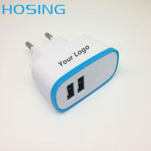 5V 2.1A Dual USB OEM Colorful High Quality EU UK Us Plug for iPhone/Samsung/Huawei pictures & photos