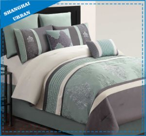 Green Embroidery Design 7PCS Microfiber Comforter Bedding pictures & photos