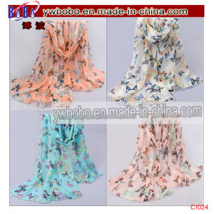 Polyester Scarf Lady Butterfly Print Neck Shawl Scarve Stole (C1024) pictures & photos