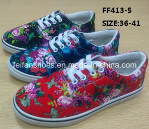 Lady Cheap Printing Injection Casual Shoes Flat Canvas Shoes (FF413-5) pictures & photos