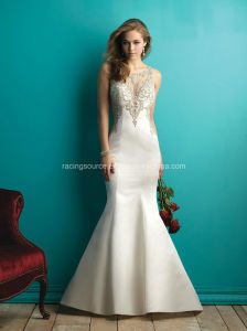 Luxury Taffeta Embroidary Rhinestone See Through Wedding Bridal Dresses pictures & photos