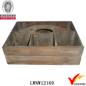 Handle Distressed Recycle Fir Wood Basket with Compartments pictures & photos