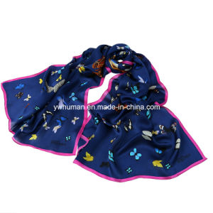 Lady 100% Pure Silk Butterfly Printed Long Scarf pictures & photos