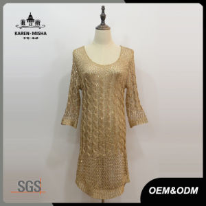 Women Loose Sleeve Cable Knitted Dress pictures & photos