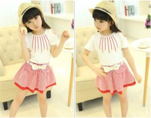Girl′s Summer Cotton Korean Fashion Strapless Short-Sleeved Striped Dress pictures & photos