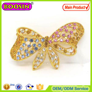 2016 New Fashion Gold Plated Brooch Crystal Bow Pin pictures & photos