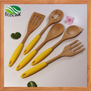 Colorful Silicone Handle Bamboo Cooking Utensil pictures & photos
