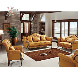 Yellow Leather Sofa Set with Carved Pattern (NCS43)