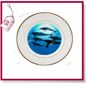 Well-Sold! 8′′ Ceramic Plate with Golden Rims pictures & photos