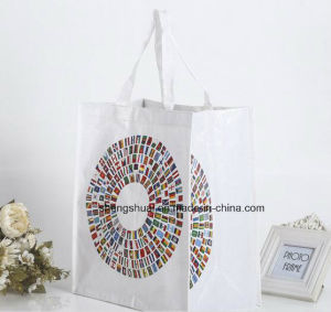 White Color Long Handle PP Woven Tote Bag with Printing