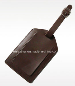 Handmade Real Leather Luggage Tag with Transparent Window pictures & photos