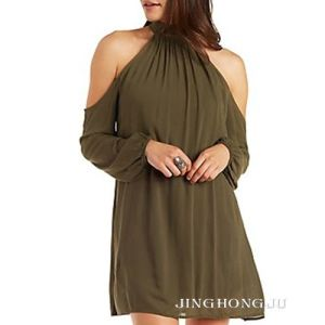Ladies Woven, Cold Shoulder Mock Neck Shift, Long Sleeves Dress with Back Keyhole Design