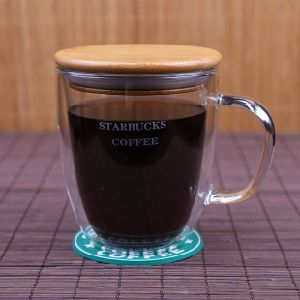 350ml Glass Coffee Mug Frosted Glass Milk Cup Double Wall Cup pictures & photos