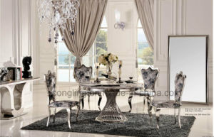 Modern Marble Small Pretty Waist Feet Rotate Dining Table pictures & photos