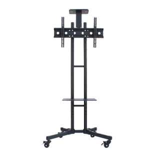 cheap tall black metal portable large floor tv stand with tv mounts for 65 inch tv