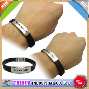 Wholesale Silicone Bracelet with Metal Button and Printed (TH-0553) pictures & photos