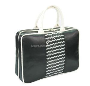 Black Beaded Polyester Promotional Travel Toiletry Cosmetic Makeup Handbag