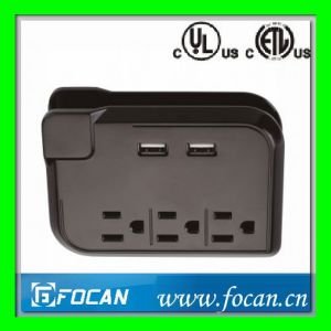 3 Outlets Current Tap with USB Charging Ports and Cord Management pictures & photos