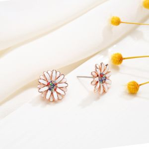 Top Sell Fashion Jewelry Alloy Enamel Zircon Crystal Flower Earring Stud pictures & photos