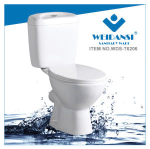Weidansi Ceramic Wash Down P-Trap Two Pieces Toilet (WDS-T6206) pictures & photos