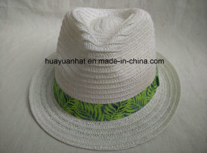 Paper Braid Sewn Braid White Color Printed Band Tropical Band Fedora Straw Hat