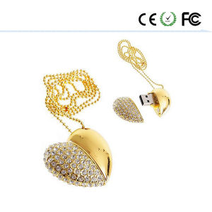 Gold Jewelry Heart Shape USB Flash Memory Stick Pendrive pictures & photos