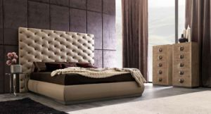 High Headboard Tufted Leather Bed for Home or Hotel (LB-004) pictures & photos