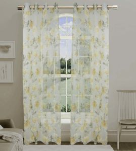 Printed Voile Grommet Panel Window Curtain (HR14WT062) pictures & photos