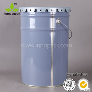 25 Liter 6 Gallon Printed Metal Paint Bucket with Flower Edge Lid pictures & photos