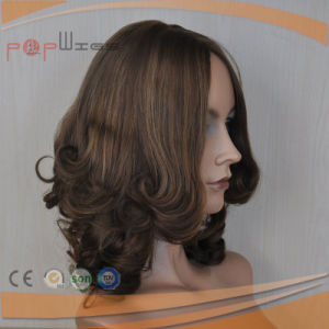 Mixed Glond Brown Curly Human Hair Wig pictures & photos