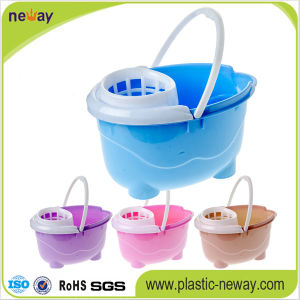 New Design Squeeze Plastic Mop Bucket with Wheels pictures & photos