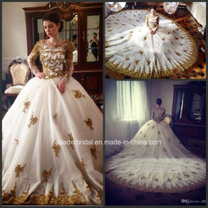 Gold Lace Bridal Ball Gown Arabic Luxury Real Wedding Dress G1712 pictures & photos