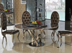 Two Layers Black Marble Dining Table Set with Chair (SDT-010)