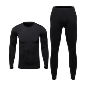 Thermal Long Sleeve Tops and Pants Black Underwear Set Fitness Breathable Wear pictures & photos