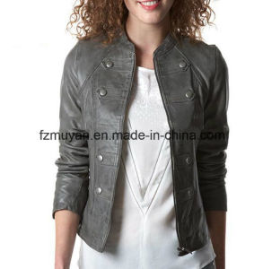 Women ′s Autumn and Winter Leather Jacket pictures & photos