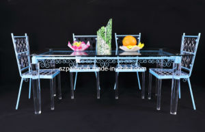 Lucite Dining Table with Metal Frame (CT902)