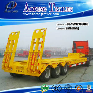 3 Axles 60tons Low Flat Bed Truck Trailer for Sale pictures & photos