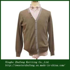 Men′s Contrast Placket Cardigan Sweater Nbzf0049