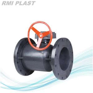 PVDF Gear Operate Ball Valve by Flange End ANSI DIN JIS pictures & photos