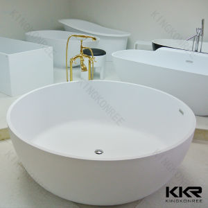 Popular stone resin solid surface free standing round for Freestanding stone resin bathtubs