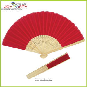 Red Farbric Hand Fan with Bamboo Ribs pictures & photos