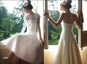 Free Jacket Lace Bridal Gown Tea Length Short Beach Garden Travel Wedding Dress C2169 pictures & photos