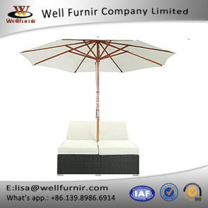 Well Furnir T-066 Espresso White Synthetic Rattan Outdoor Dual Chaise pictures & photos