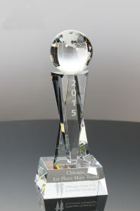 Optic Crystal Globe Trophy for Recognition Awards pictures & photos