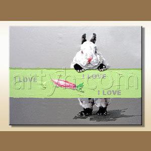 Handmade Cartoon Rabbit Oil Painting for Sale
