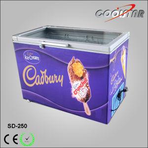 New Style Top Open Glass Door Ice Cream Display Freezer (SD-250) pictures & photos