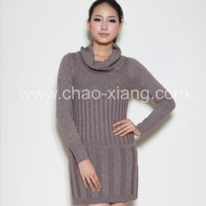 Ladies Knitting Sweater With Cowl Necked Sweater (CXL026)