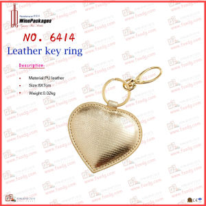 Golden Shiny Leather Metal Key Chain (6414) pictures & photos