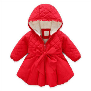 Girl Wintera-Line Coat with Bowknot for Kid Clothes pictures & photos